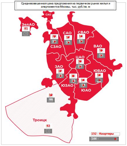 Цены предложения по административным округам Москвы апрель 2016