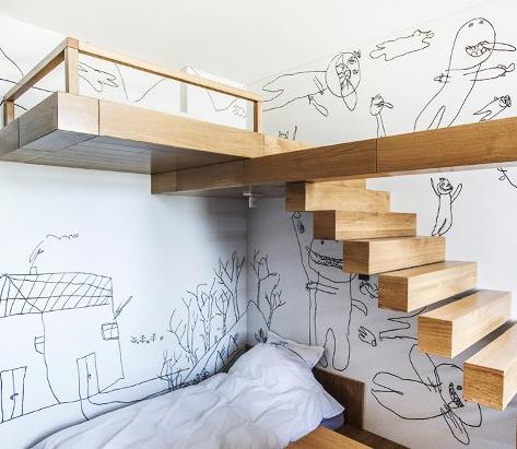 детская с рисунками на стенах